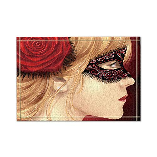 Otbrn mysterieuze rozenmeisjes met masker op je gezicht badmat antislip vloeringangen, voor binnen en buiten, 16 x 24 inch