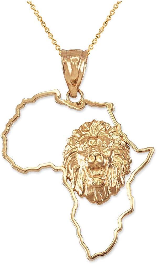 LA BLINGZ 10K Yellow Gold Africa Map Lion Pendant Necklace