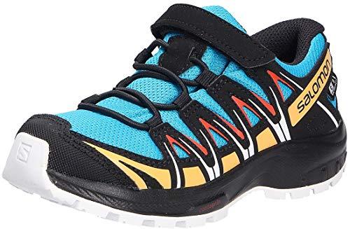 Salomon Kinder XA PRO 3D, Schuhe für Trail Running und Outdoor-Aktivitäten, ClimaSalomon Waterproof, Einfaches Schnürsystem Blau/Schwarz (Hawaiian Ocean/Cherry Tomato/Warm Apricot), 27 EU