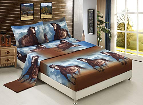 Luxurious 3D Bed Sheet Set Wild Life Animals,Flowers and Scenery Print Brown Horse Running Under Blue Sky in Queen King Size (King, RUNNINGHORSE-D06)