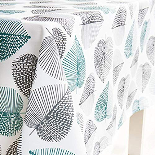 Dreaming Casa - Mantel impermeable para mesa rectangular, antimanchas, diseño geométrico, para mesa de comedor, picnic y fiesta, mantel rectangular, hoja, 140 x 200 cm