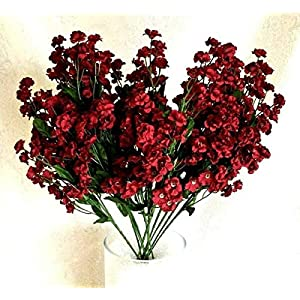 Floral Décor Supplies for 12 Baby's Breath Artificial Gypsophila Silk Wedding Flowers Centerpieces Faux for DIY Flower Arrangement Decorations – Color is Burgundy
