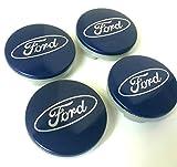 Set de 4embellecedores de llantas de aleación 54 mm para Ford en color azul con logo plateado. Para Ford Ka, Kuga, Fusion, Fiesta, Focus, Mondeo, Galaxy, C-Max, S-Max y otros modelos