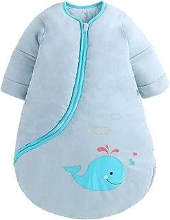 EsTong Unisex Baby Detachable Sleeves Sleep Bag Cartoon Whale Wearable Blanket Cotton Nest Nightgowns Sleeping Bag