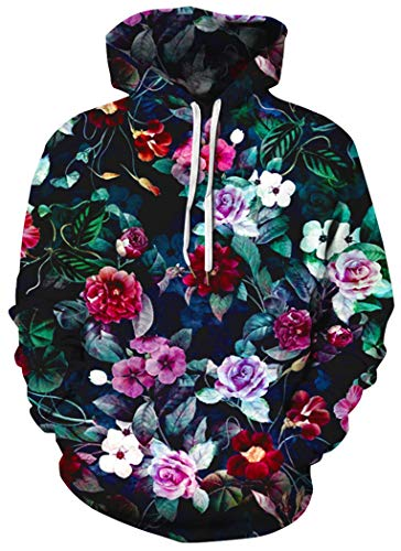 BarbedRose Men's Digital Print Sweatshirts Hooded Top Galaxy Pattern Hoodies,Floral,L/XL