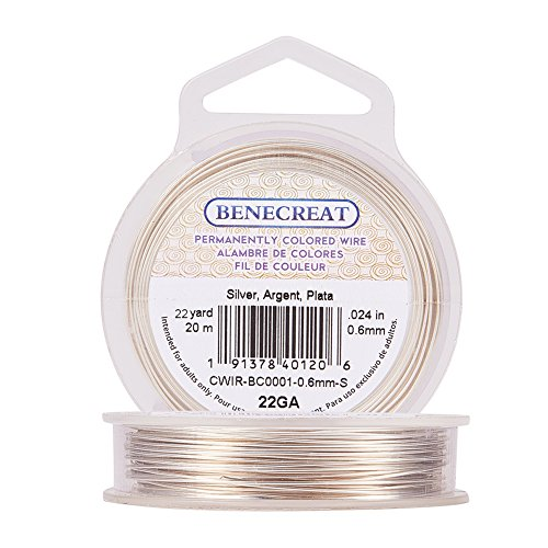 BENECREAT 22-Gauge Tarnish Resistant Silver Coil Wire, 66-Feet/22-Yard