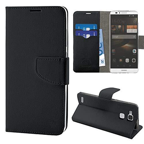 N NEWTOP Cover Compatibile per Huawei Ascend Mate 7, HQ Lateral Custodia Libro Flip Chiusura Magnetica Portafoglio Simil Pelle Stand (Nera)