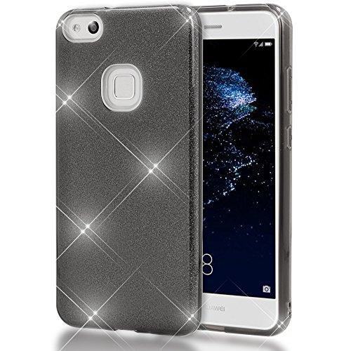 NALIA Custodia compatibile con Huawei P10 Lite, Glitter Copertura in Silicone Protezione Sottile Cellulare, Slim Gel Cover Case Protettiva Scintillio Smartphone Telefono Bumper, Colore:Nero
