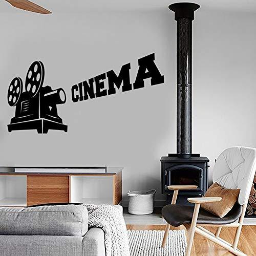 SUPWALS Pegatinas de pared Cine Tatuajes De Pared Arte Cámara Película Fresco Decoración Creativa Cine Teatro Interior Vinilo Etiqueta De La Pared Solo Color Mural 42X81Cm
