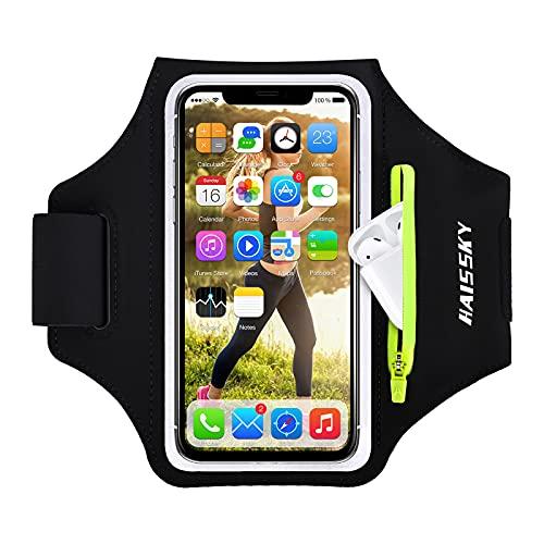 HAISSKY Handy Schweißfest Sportarmband Mit Airpods Tasche für iPhone 12 Pro MAX/iPhone 11/11 Pro/XR/XS/X/8 Plus/7 Plus/8/7/6s/6,Huawei P20 Pro / P30 Pro/Mate 20 Xiaomi,LG Mit Kabelfach/Kartenhalter