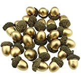 LINMAN Fruta Falsa 50 unids de Oro Artificial de Bellota Artificial Falso de bellotas de Oro DIY Material de artesanía Partido Decoración de Frutas de Navidad (Color : Gold)