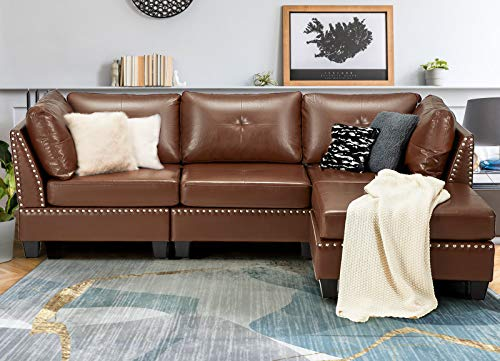 "Esright 88.6"" Convertible Sectional Sofa Couch with Ottoman, Modern Tufted Faux Leather L-Shaped Couch with Reversible Chaise, Suitable for Office,Living Room and Hotel Lobby, Brown"