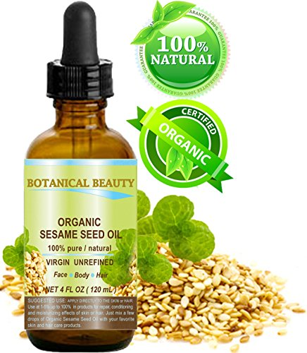 ORGANIC SESAME OIL, 100% Pure/Undiluted/Cold Pressed. 4oz -120 ml. For Face, Hair and Body.