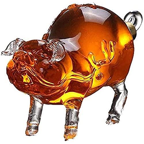XHBH Dispensador de Botellas de Whisky Reutilizable Hogar Cerdo de Vidrio Decantador Barware Licores de Vidrio sin Plomo Decantadores fáciles de Usar y Limpiar 1B2M 0709