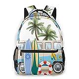 Lawenp Zaini per la Scuola Surf Weekend Concept con Elementi per Immersioni Pinne Snorkeling e Viaggio in Furgone Rilassati Pace per Ragazze e Ragazzi Adolescenti Borse per Studenti da 16 Pollici ZA