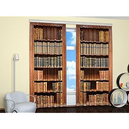 Vintage Wooden Bookshelf with Books Window Drapes Short Kitchen Curtains Set
