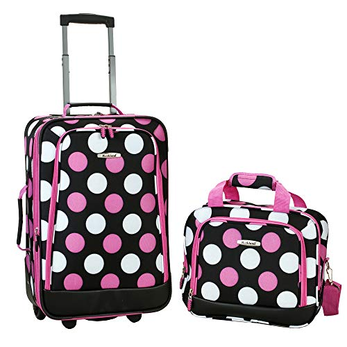 Rockland Fashion Softside Upright Luggage Set, Multi/Pink Dot, 2-Piece (14/19)