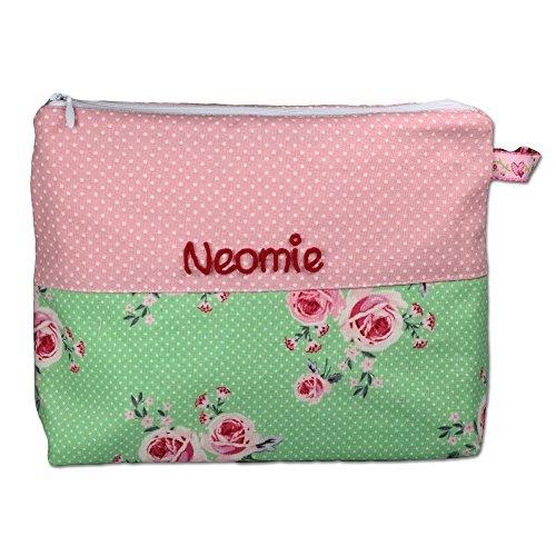 Kulturtäschchen Rosenglück rosa mit Namen, Kulturbeutel Mädchen, Kulturtasche Kinder, Geschenk personalisiert