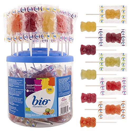 Cerdán Bio Moments Piruletas Ecológicas Surtidas de Frutas y Sabor Miel Limón en Forma de Oso Caramelos 100 Unidades de 12,5 g