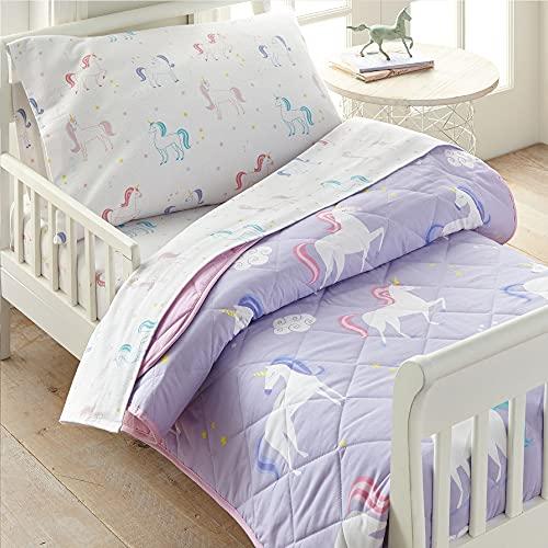 Wildkin 100% Baumwolle, 4-teiliges Kleinkind-Bett-in-A-Bag für Jungen und Mädchen, Bettwäsche-Set mit Bettdecke, Bettlaken, Spannbetttuch und Kissenbezug, Bett-Set für gemütliche Kuscheln, BPA-frei (Einhorn)