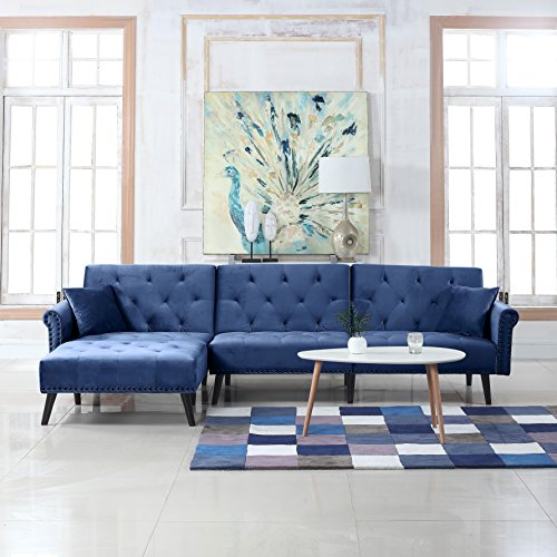 Divano Roma Furniture Middle Century Modern Style Velvet Sleeper Futon Sofa, Living Room L Shape Sectional Couch with Reclining Backrest and Chaise Lounge (Navy Blue)