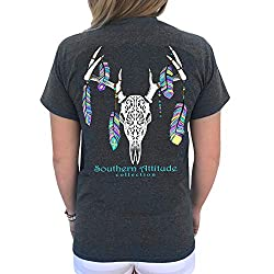 Southern Attitude Feather Deer Skull Dark Heather Country Short Sleeve Tee Shirt