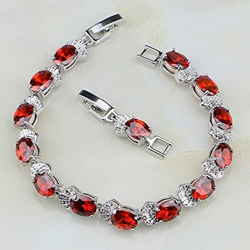 WLLLTY Pulsera Mujer, circonita cúbica roja, joyería de Plata esterlina 925, Pulsera para Mujer, Regalo