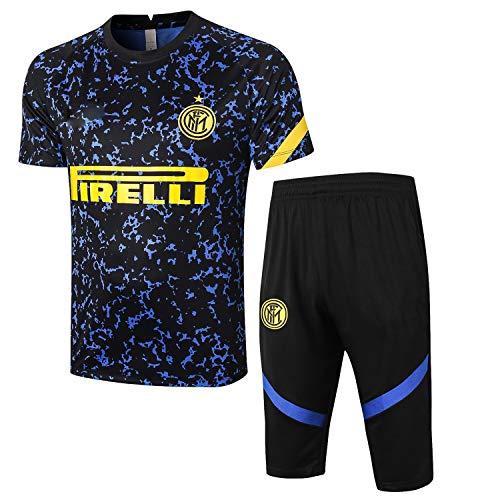 PARTAS Short Sleeve Trainingsanzug Inter Mailand Football Wear Verein Uniform Wettbewerb Anzug Herren-Geschenk-Ausrüstungs-T-Shirt Männer Jersey 2 Stück Sets (Size : S)