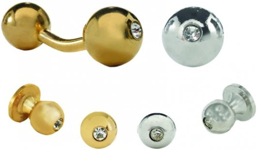 David's Formal Wear Barbell with a Crystal Tuxedo Studs and Cufflinks Gold Trim