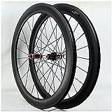 DPG Juego de Ruedas de Carretera de Fibra de Carbono 700C, llanta de Bicicleta de Doble Pared, Rueda de Carreras de Bicicleta con Freno en V de aleación de Aluminio para velocidades de
