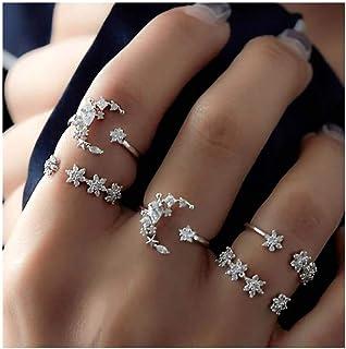 IYOU Juego de anillos de piedras preciosas vintage con cristales plateados, anillos apilables para mujeres y niñas (5 piezas)