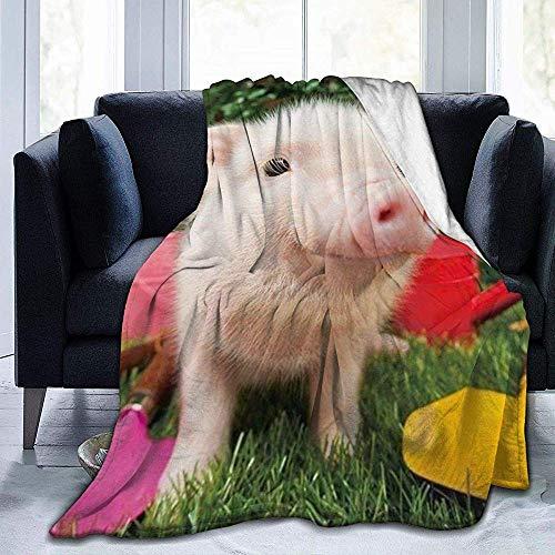 wobuzhidaoshamingzi Adorable deken van molton, ultrazacht, Piggy baby, deken van pluche uit flanel