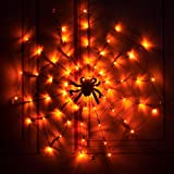 PABIPABI Spider Web Light LED Halloween Black Spider Web Light 3.25FT Diameter 70 LED Waterproof Orange Lights and Black Spider for Party Yard Bar Haunted House Indoor&Outdoor Halloween Decoration