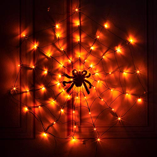 PABIPABI Spider Web Light LED Halloween Black Spider Web Light 3.25FT Diameter 70 LED Waterproof Orange Lights and Black Spider for Party Yard Bar Haunted House Indoor&Outdoor Halloween Decoration