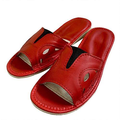reines Leder offene Zehen weit geschnittene Frauen Hausschuhe rot plus Größen 37-42