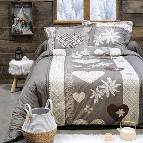 J&K Markets - Copripiumino Engaly, motivo romantico, 240 x 260 cm, 2 persone, 100% cotone, qualità superiore