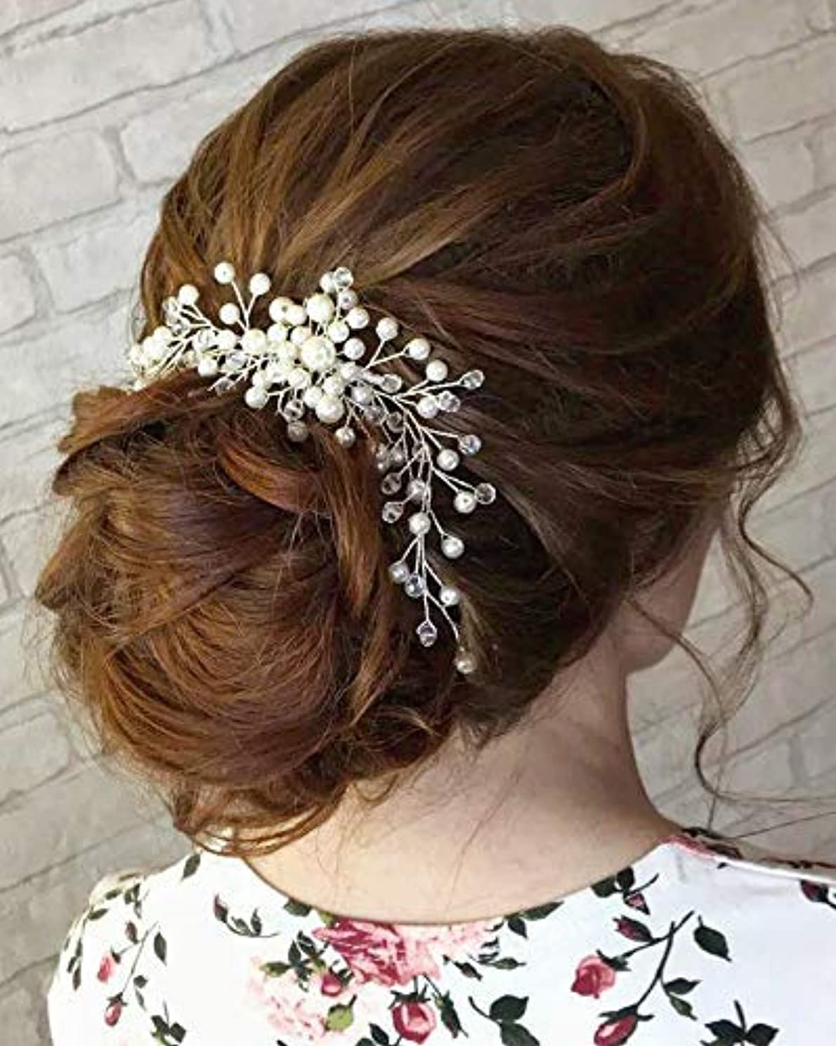 助けて美しいユーモラスKercisbeauty Wedding Simple Pearl Hair Comb for Brides Bridal Headpiece Long Curly Updo Hair Accessories Prom Hair Dress for Women(Silver) [並行輸入品]