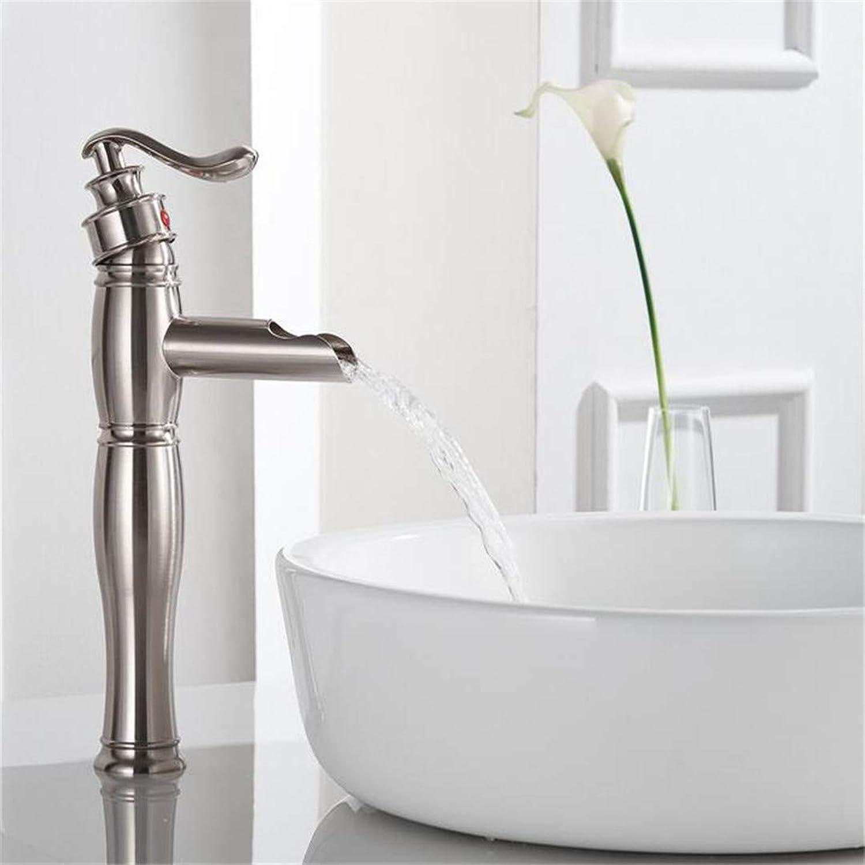 Basin Sink Mixer Faucet?Brushed Basin Faucet Bathroom Heightening Waterfall Faucet Wash Basin Single Hole High Faucet