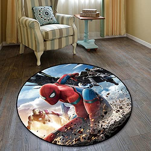 Kele Alfombra Redonda de Dibujos Animados de Anime Spiderman decoración Creativa Sala de Estar Suave nórdico Moderno niño niña Vengadores héroe Alfombra 120 cm