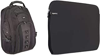 Amazon Basics Adventure - Mochila para portátil de hasta 17 pulgadas + NC1303154 - Funda para ordenadores portátiles (15.6