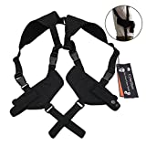 CyberDyer Tactical Double Draw Handgun Shoulder Holster Fully Adjustable Ambidextrous Horizontal Handgun Carrier (Black)