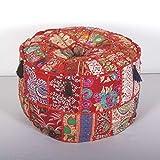Casa Moro MA812 - Puf indio de patchwork, color rojo, diámetro de 40 cm, altura de 25 cm, incluye...