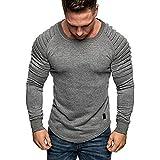 Kenmeko Sweatshirt Felpa Uomo Tee Maglietta a Maniche Lunghe Uomo Felpa Top Camicetta Splicing Wrinkle Pullover in puro colore ( S,Grigio )