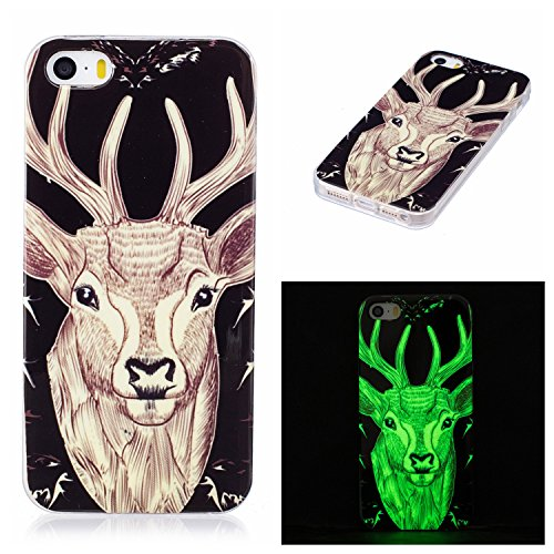 Carols Coque iPhone 5 5S 5G / iPhone Se, iPhone 5 5S 5G / iPhone Se Étui TPU Silicone Souple Coque,[Vert Night Glow in The Dark] Housse étui Flexible Protection en TPU Silicone Shell Housse - Deer