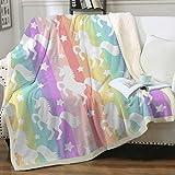 Sleepwish Unicorn Blankets and Throws Rainbow Unicorn Sherpa Blanket Super Soft Cozy Plush Fleece Blanket Fantasy Girls Room Decor, Gallop Rainbow,Throw (50' X 60')