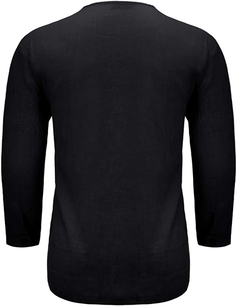WUAI-Men Cotton Linen Henley Shirt Big and Tall Long Sleeve Hippie Yoga Tops Casual Loose Henley Beach Shirts Tops