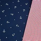 Jersey Anker dunkelblau & Bündchen rot-weiß Ringel Breite