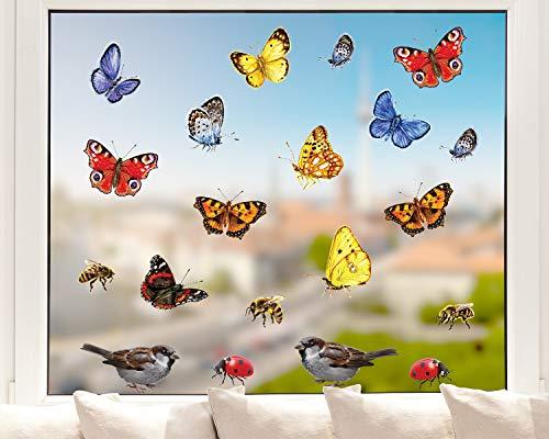 Pixblick Fenstersticker - Schmetterlinge, Bienen, Marienkäfer und Spatzen