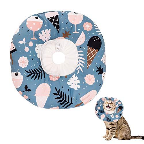 Xinzistar Halskrause Katzen Halsband Soft Weich Katze Schutzkragen Anti Biss Safety Einstellbarer Schützender Kragen für Haustiere Katzen Hunde Welpen Kätzchen (Tropisch, M)