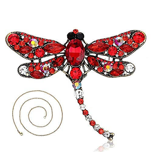 Broches Broche de mujer Broches y alfileres para mujer Collar de libélula de cristal vintage para mujer Alfileres de cuello Colgante de libélula Accesorios de joyería